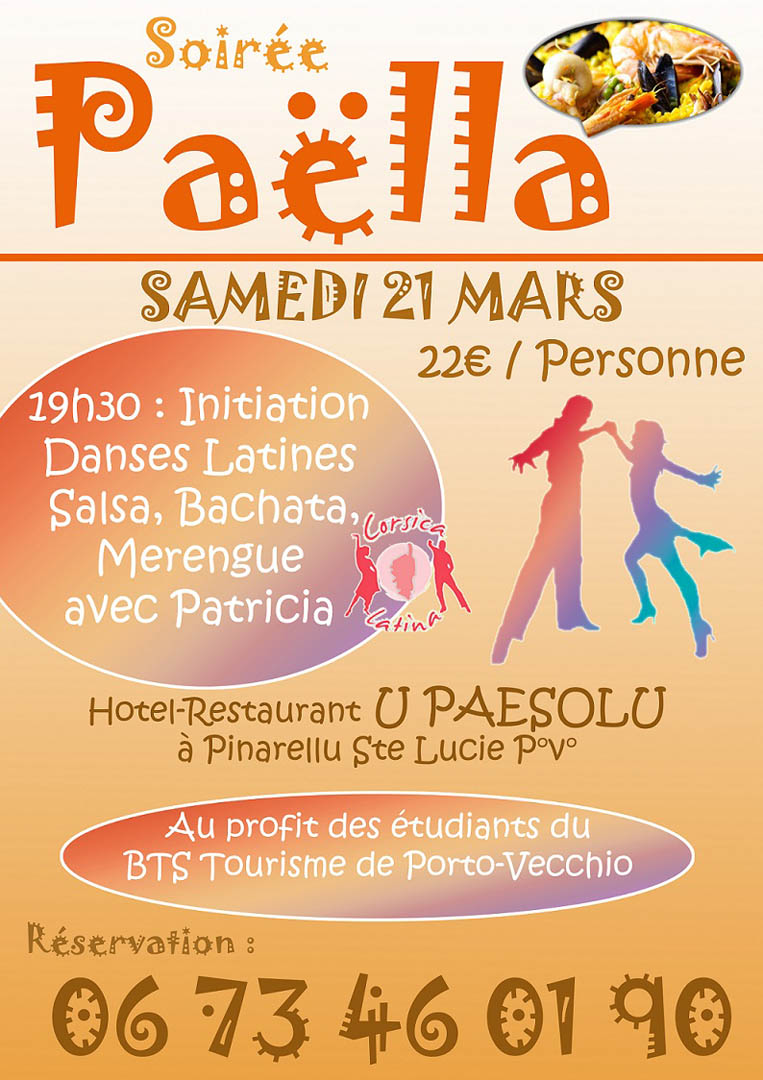 Soir e paella samedi 21 mars 2015 office de tourisme de - Office tourisme sainte lucie de porto vecchio ...