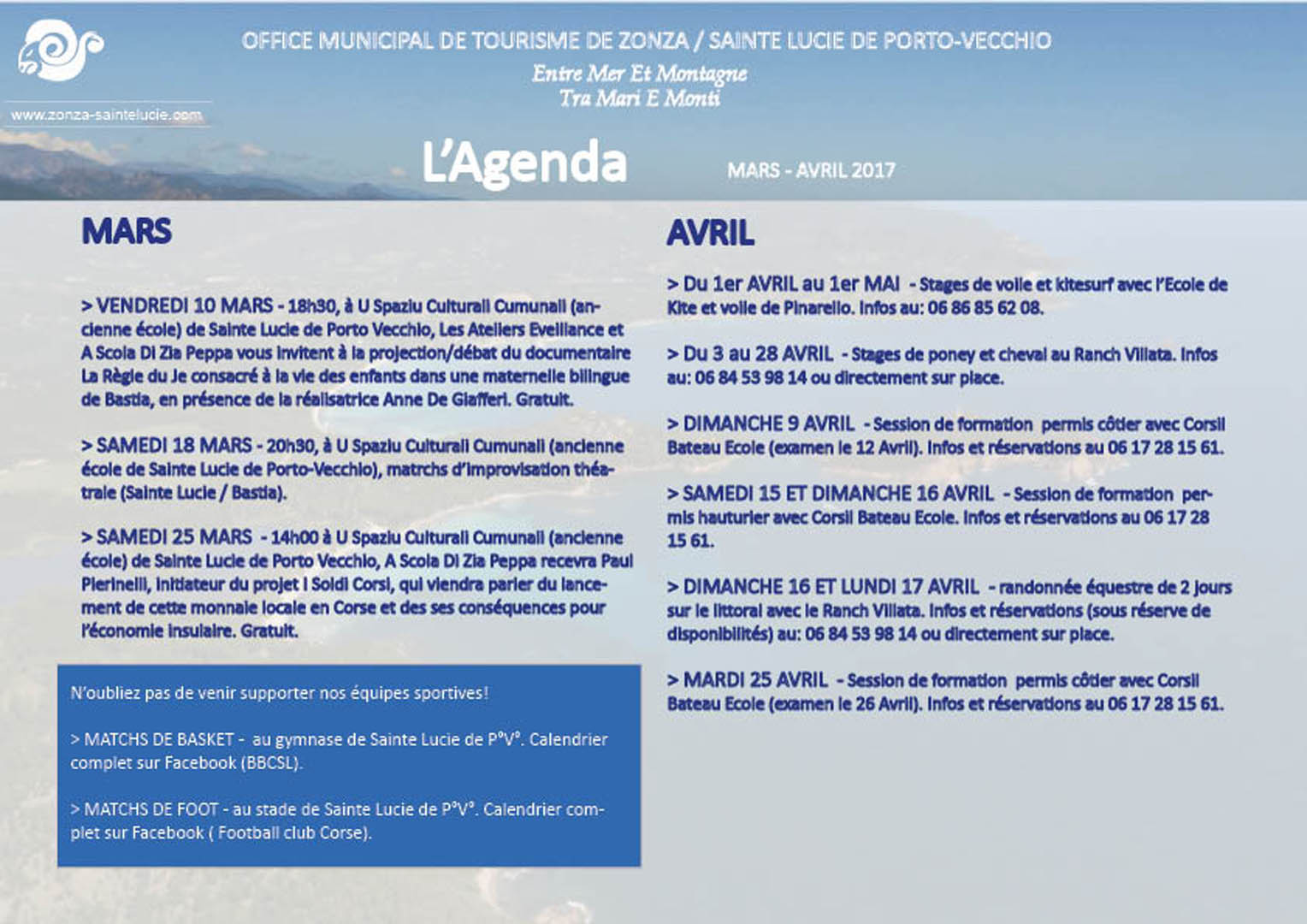 L 39 agenda mars avril 2017 office de tourisme de zonza - Office tourisme sainte lucie de porto vecchio ...
